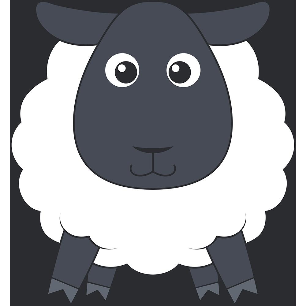 ヒツジ(サフォーク-羊)のイラスト【無料・フリー】