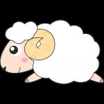 走るヒツジ(メリノ-羊)のイラスト【無料・フリー】