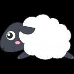 走るヒツジ(サフォーク-羊)のイラスト【無料・フリー】