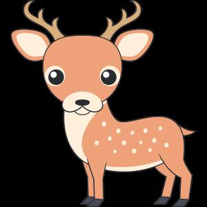 かわいいシカ(鹿-オス)のイラスト【無料・フリー】