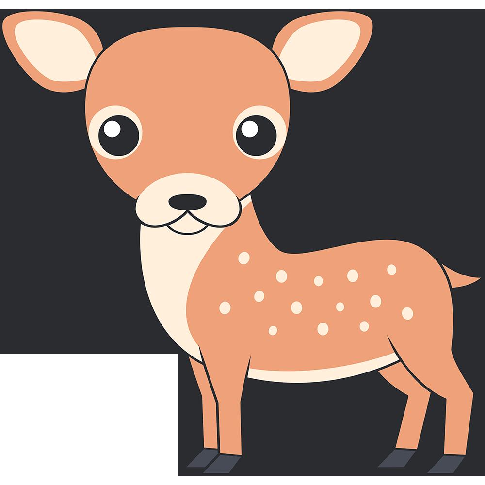 かわいいシカ(鹿-メス)のイラスト【無料・フリー】
