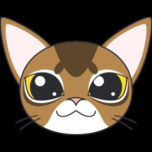 アビシニアン(猫)の顔イラスト【無料・フリー】