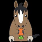 ニンジンを食べる馬のイラスト【無料・フリー】