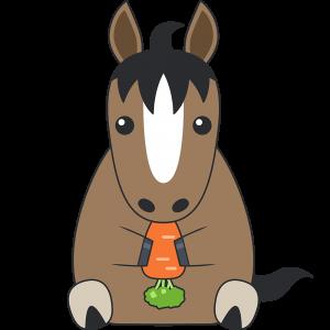 ニンジンを食べる馬