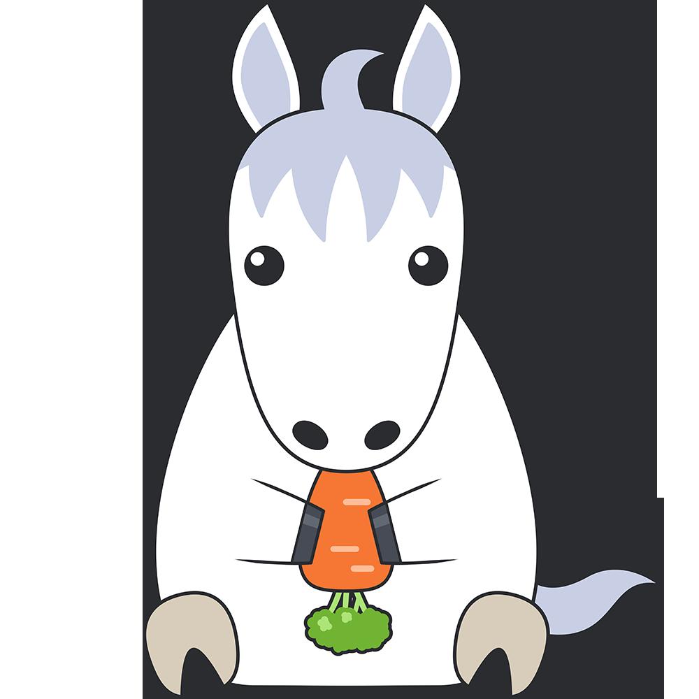 ニンジンを食べる白馬のイラスト【無料・フリー】