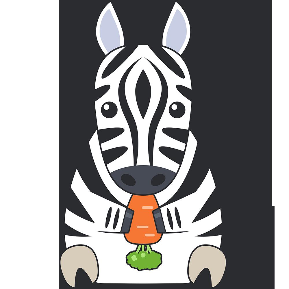 ニンジンを食べるシマウマ(馬)のイラスト【無料・フリー】