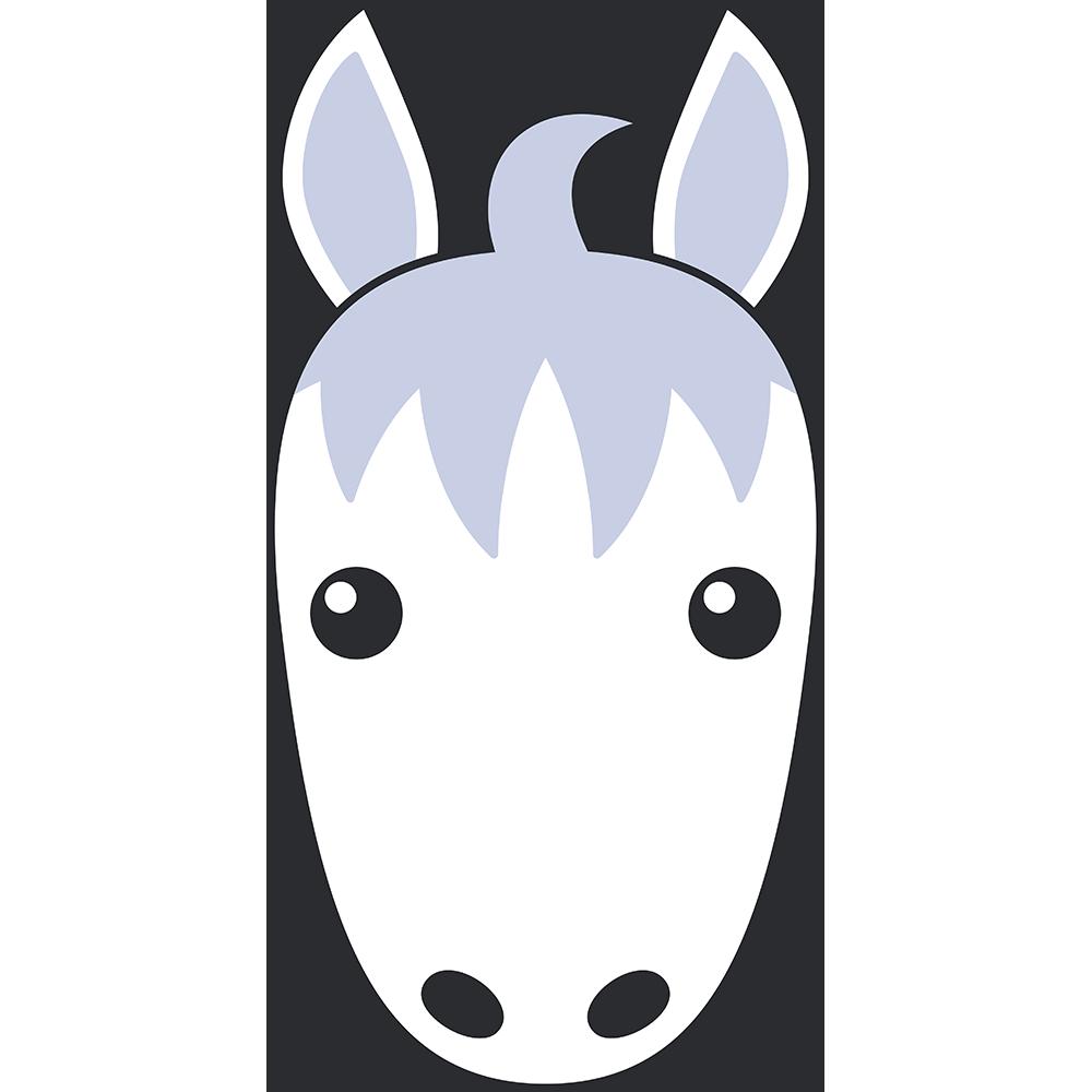 白馬の顔イラスト【無料・フリー】