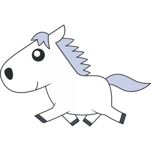走る白馬のイラスト【無料・フリー】
