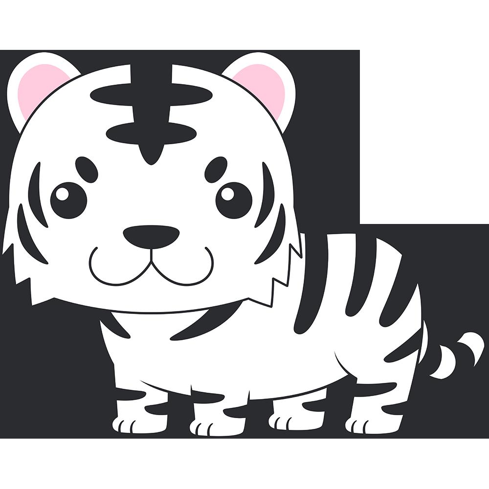 ホワイトタイガー(虎)のイラスト【無料・フリー】