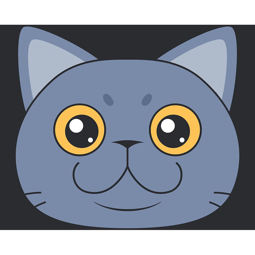 ブリティッシュショートヘア(猫)の顔イラスト【無料・フリー】