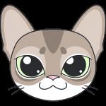 シンガプーラ(猫)の顔イラスト【無料・フリー】