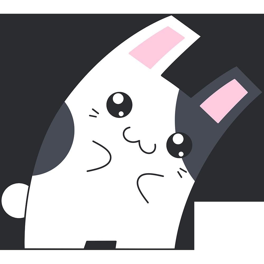 Hな白黒のウサギのイラスト【無料・フリー】
