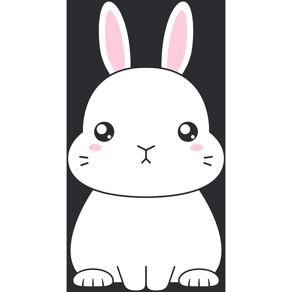 白いネザーランドドワーフ(ウサギ)のイラスト【無料・フリー】