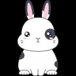 白黒のネザーランドドワーフ(ウサギ)のイラスト【無料・フリー】