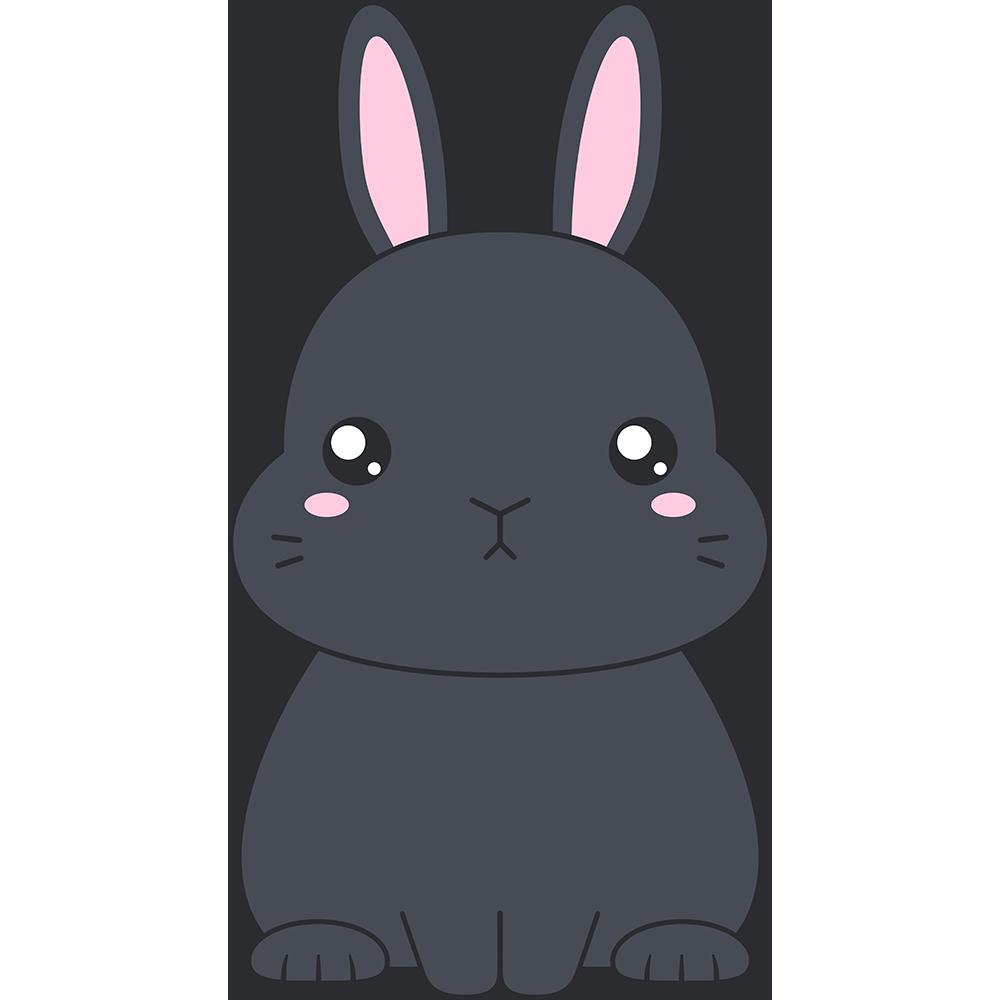黒いネザーランドドワーフ(ウサギ)のイラスト【無料・フリー】