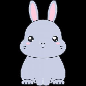 グレーのネザーランドドワーフウサギのイラスト無料フリー