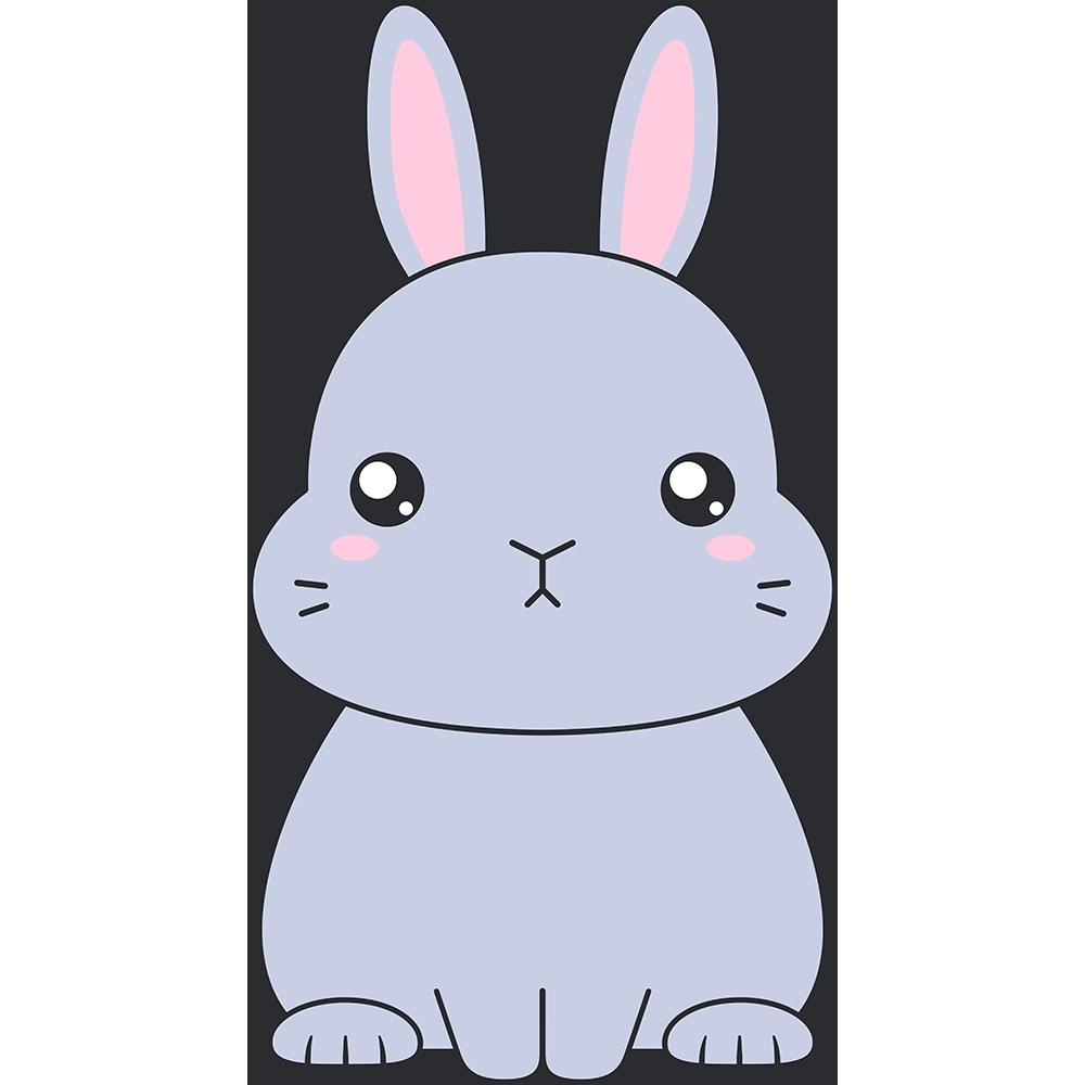 グレーのネザーランドドワーフ(ウサギ)のイラスト【無料・フリー】