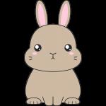 茶色いネザーランドドワーフ(ウサギ)のイラスト【無料・フリー】