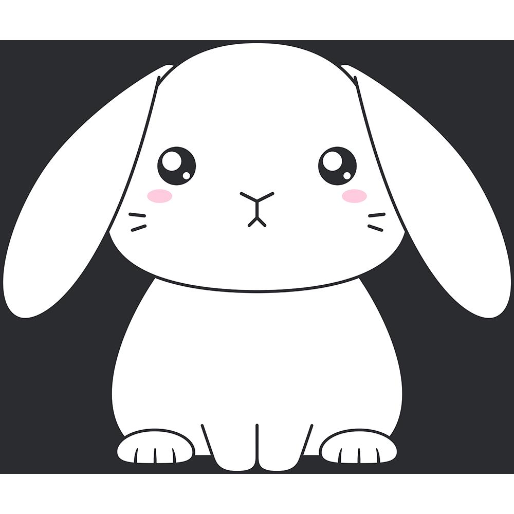 白いホーランドロップ(ウサギ)のイラスト【無料・フリー】