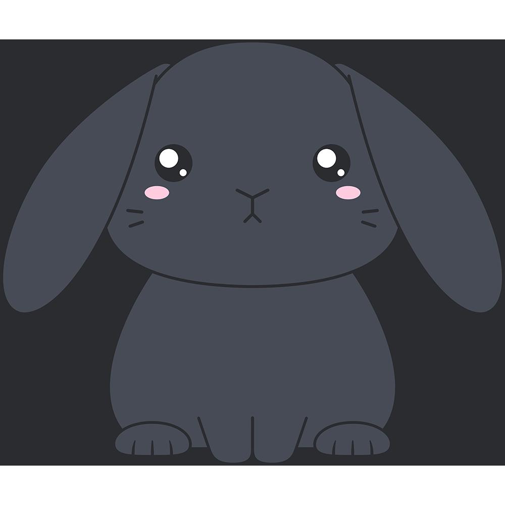 黒いホーランドロップ(ウサギ)のイラスト【無料・フリー】