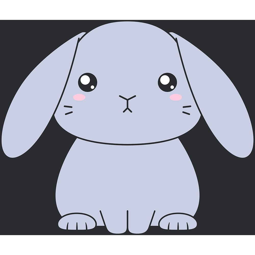 グレーのホーランドロップ(ウサギ)のイラスト【無料・フリー】