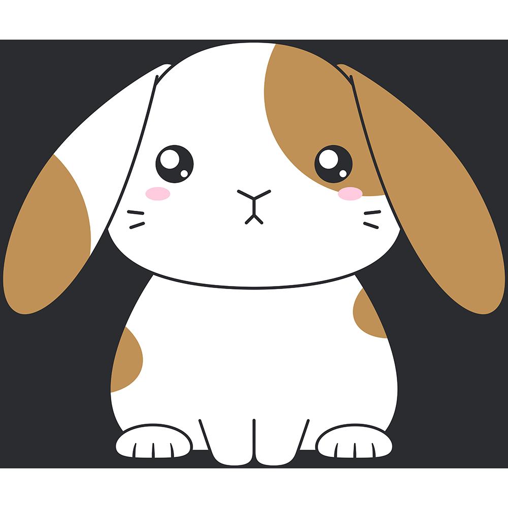 茶白のホーランドロップ(ウサギ)のイラスト【無料・フリー】