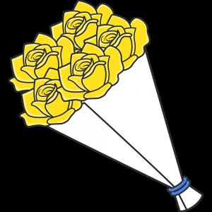黄色いバラの花束のイラスト【無料・フリー】