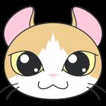 アメリカンカール(猫)の顔イラスト【無料・フリー】