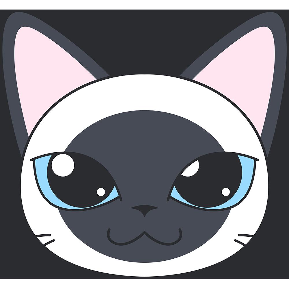 シャム猫の顔イラスト【無料・フリー】