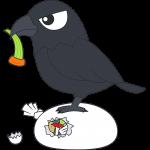 ゴミを漁るカラス(鳥)のイラスト【無料・フリー】