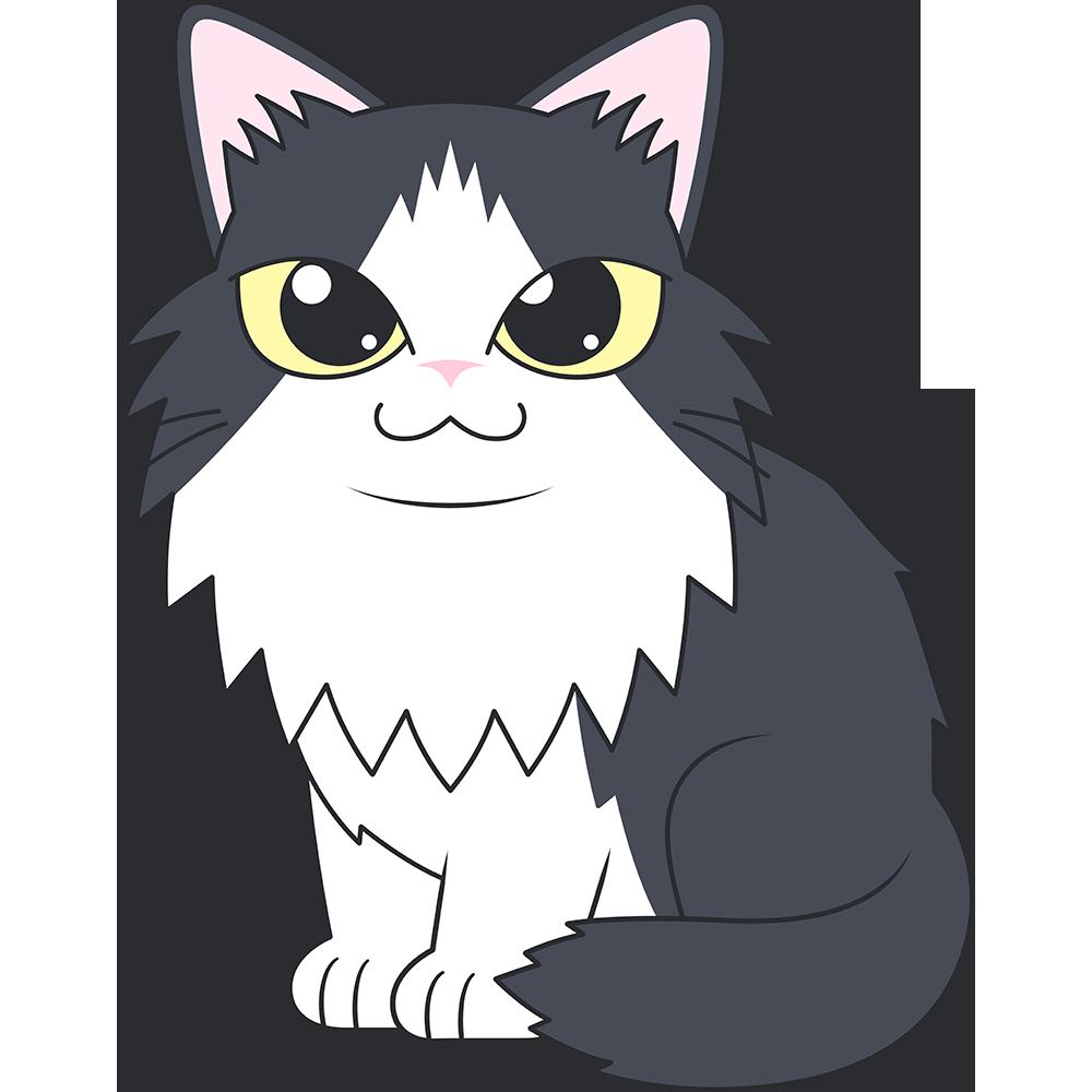ノルウェージャンフォレストキャット(猫)のイラスト【無料・フリー】