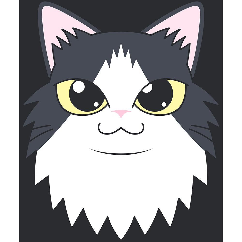 ノルウェージャンフォレストキャット(猫)の顔イラスト【無料・フリー】