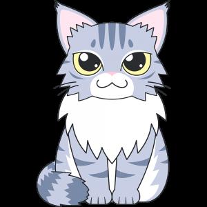 メインクーン(猫)のイラスト【無料・フリー】