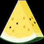 カットした黄色いスイカのイラスト【無料・フリー】