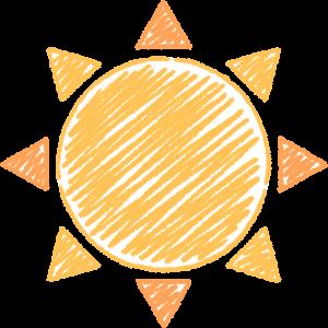 天気・晴れ・太陽の手書きイラスト