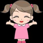 喜ぶ女の子(子供)のイラスト【無料・フリー】