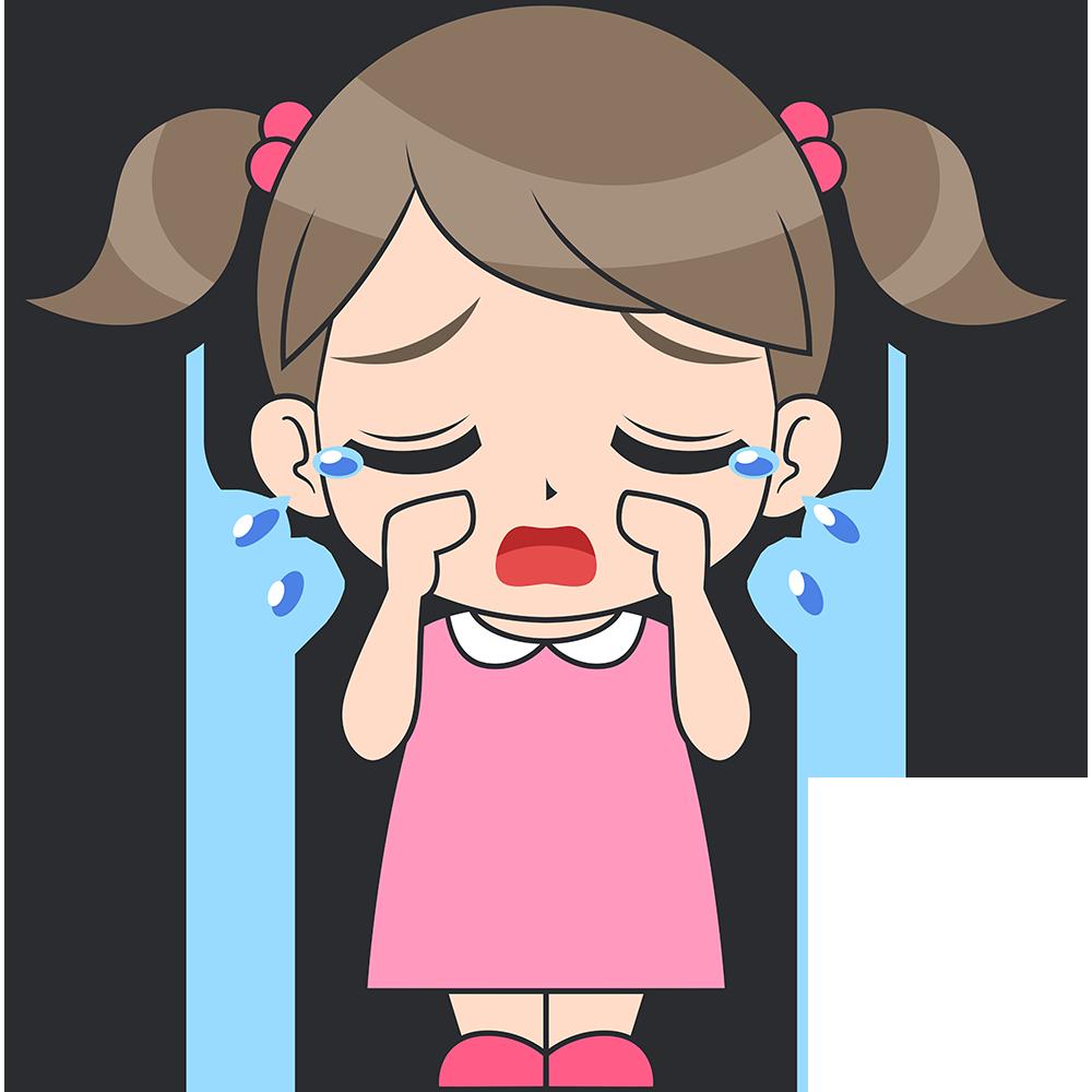 泣く女の子(子供)のイラスト【無料・フリー】