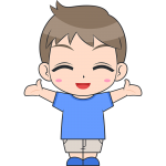 喜ぶ男の子(子供)のイラスト【無料・フリー】