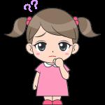 考える女の子(子供)のイラスト【無料・フリー】