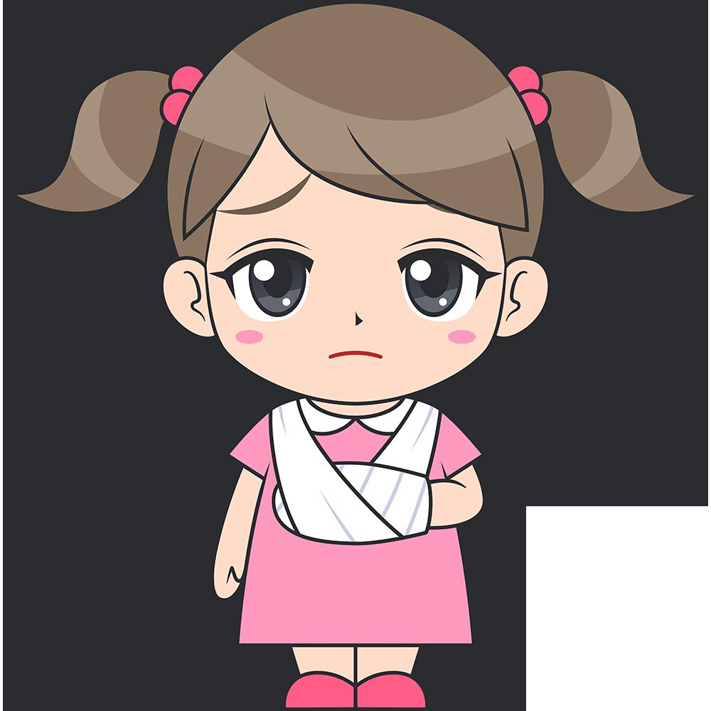 ケガをした女の子(子供)のイラスト【無料・フリー】