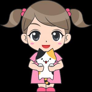 猫を抱っこする女の子(子供)