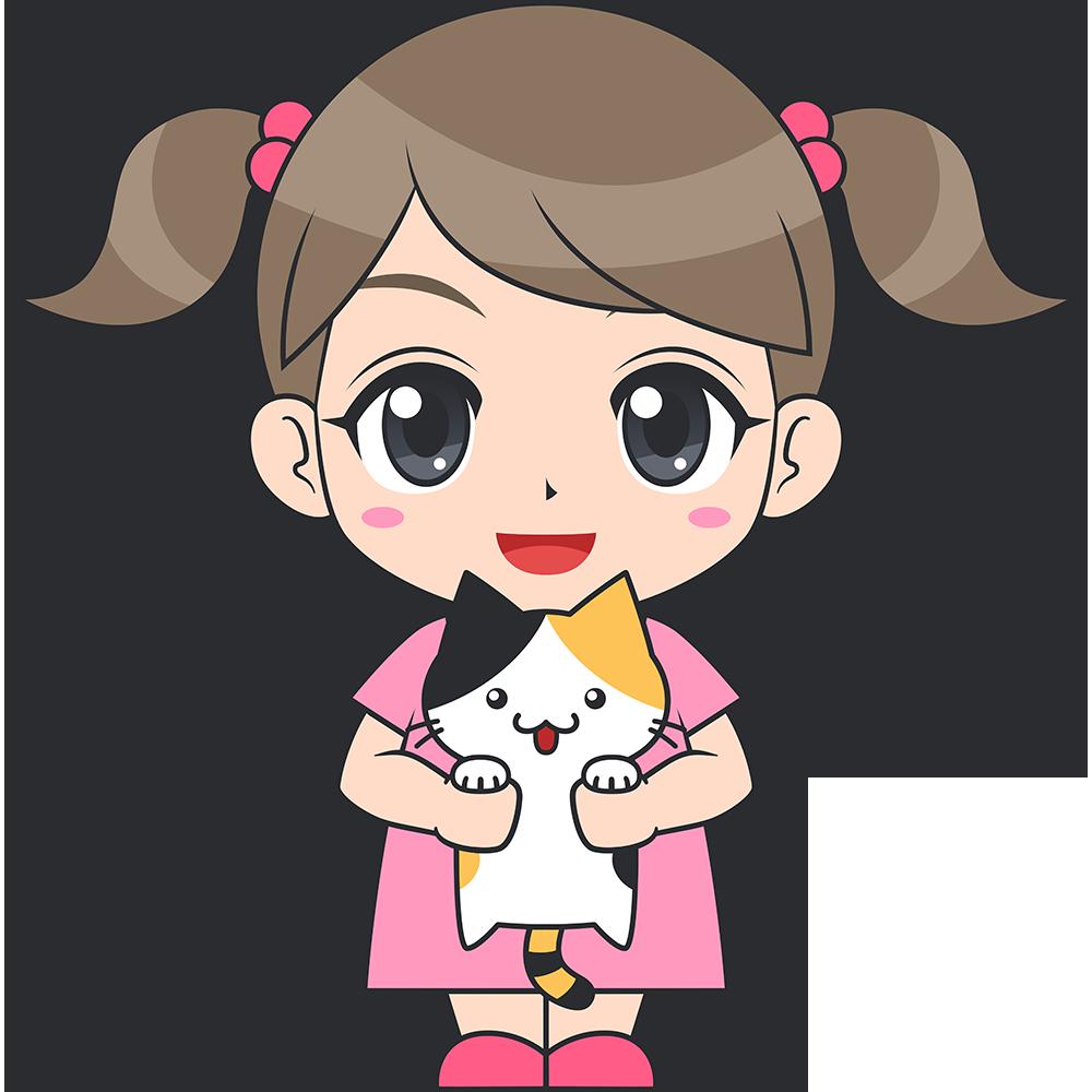 猫を抱っこする女の子(子供)のイラスト【無料・フリー】