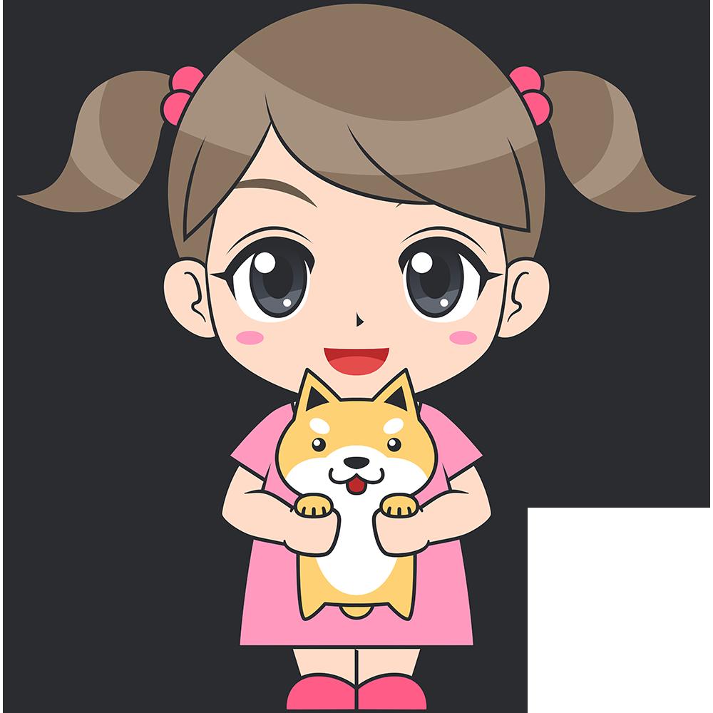 犬を抱っこする女の子(子供)のイラスト【無料・フリー】