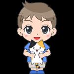 猫を抱っこする男の子(子供)のイラスト【無料・フリー】