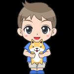犬を抱っこする男の子(子供)のイラスト【無料・フリー】