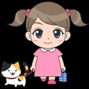 猫と散歩する女の子(子供)のイラスト【無料・フリー】