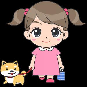 犬と散歩する女の子(子供)