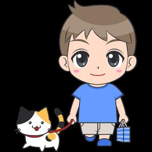 猫と散歩する男の子(子供)