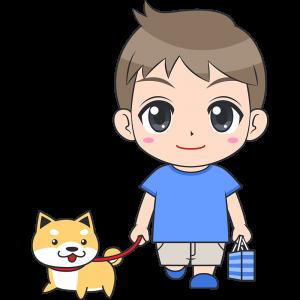 犬と散歩する男の子(子供)のイラスト【無料・フリー】
