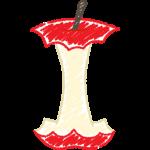 リンゴの芯の手書きイラスト【無料・フリー】